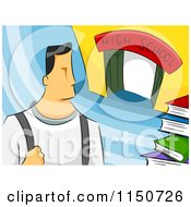 Cartoon Of A High School Boy Royalty Free Vector Clipart