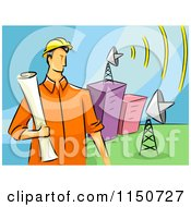 Cartoon Of A Communications Engineer Man With Satellite Dishes Royalty Free Vector Clipart by BNP Design Studio