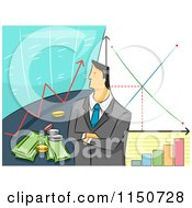 Cartoon Of A Businessman With Stock Graphs And Financial Charts Royalty Free Vector Clipart