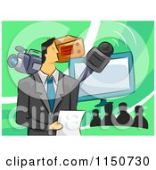 Cartoon Of A Televison Host With A Microphone Camera And Monitor Royalty Free Vector Clipart by BNP Design Studio