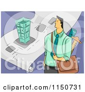 Cartoon Of A Male Architect With A Bag And Blueprints Royalty Free Vector Clipart