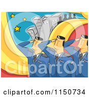 Cartoon Of Saluting Military Officers Royalty Free Vector Clipart
