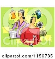 Cartoon Of A Man And Woman With Different Skills Royalty Free Vector Clipart