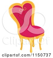 Cartoon Of A Pink Princess Chair Royalty Free Vector Clipart by BNP Design Studio