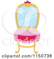 Cartoon Of A Princess Vanity Table Royalty Free Vector Clipart