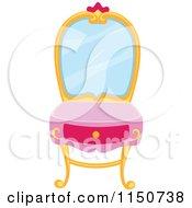 Cartoon Of A Princess Vanity Table Royalty Free Vector Clipart