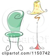 Cartoon Of A Chic Green Chair And Polka Dot Lamp Royalty Free Vector Clipart by BNP Design Studio