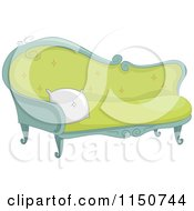 Cartoon Of A Fancy Green Sofa Royalty Free Vector Clipart by BNP Design Studio