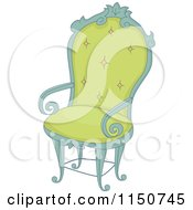 Cartoon Of A Green Arm Chair Royalty Free Vector Clipart