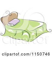 Cartoon Of A Chic Bed With A Green Blanket Royalty Free Vector Clipart