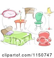 Cartoon Of Household Furniture Royalty Free Vector Clipart