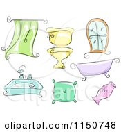 Cartoon Of Household Accessories And Fixtures Royalty Free Vector Clipart