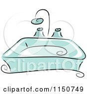 Cartoon Of A Blue Bathroom Sink Royalty Free Vector Clipart