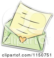Cartoon Of A Love Letter And Green Envelope Royalty Free Vector Clipart by BNP Design Studio