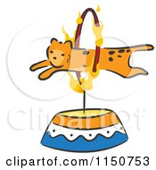 Cartoon Of A Cheetah Leaping Through A Hoop Circus Act Royalty Free Vector Clipart