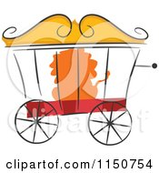 Cartoon Of A Lion In A Circus Cage Royalty Free Vector Clipart
