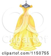 Cartoon Of A Yellow Princess Gown On A Manequin Royalty Free Vector Clipart by BNP Design Studio