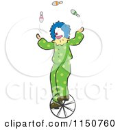 Cartoon Of A Clown Juggling On A Unicycle Circus Act Royalty Free Vector Clipart by BNP Design Studio