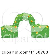 Cartoon Of A Trimmed Garden Hedge With An Arch Royalty Free Vector Clipart