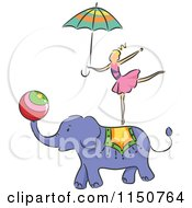Cartoon Of A Girl Balancing On An Elephant Circus Act Royalty Free Vector Clipart