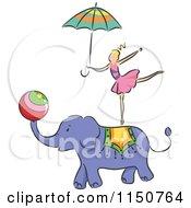 Girl Balancing On An Elephant Circus Act