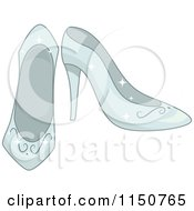 Cartoon Of A Pair Of Glass Princess Slippers Royalty Free Vector Clipart