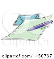 Cartoon Of A Pen On A Letter And Envelope Royalty Free Vector Clipart by BNP Design Studio