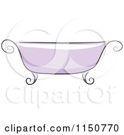 Cartoon Of A Chic Purple Bath Tub Royalty Free Vector Clipart