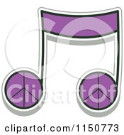 Cartoon Of A Purple Peace Music Note Royalty Free Vector Clipart