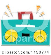 Cartoon Of A Turquoise Boom Box Royalty Free Vector Clipart