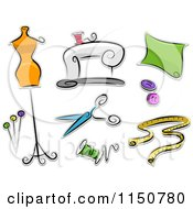 Cartoon Of Dressmaking Icons Royalty Free Vector Clipart