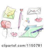 Cartoon Of Love Letter Items Royalty Free Vector Clipart by BNP Design Studio