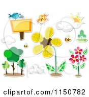 Cartoon Of Bird And Nature Icons Royalty Free Vector Clipart