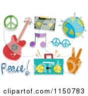 Cartoon Of Peace And Music Items Royalty Free Vector Clipart