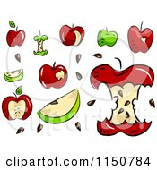 Cartoon Of Red And Green Apples Royalty Free Vector Clipart