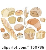 Cartoon Of Breads And Pastries Royalty Free Vector Clipart by BNP Design Studio