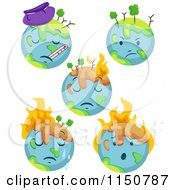 Cartoon Of Sick Earth Globes Royalty Free Vector Clipart