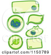 Cartoon Of Ecology Sticker Design Elements Royalty Free Vector Clipart
