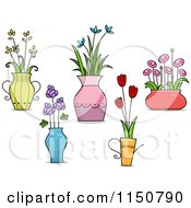 Cartoon Of Flower Pot And Vase Design Elements Royalty Free Vector Clipart