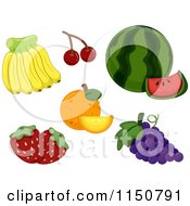 Cartoon Of Bananas Cherries Watermelon Oranges Grapes And Strawberries Royalty Free Vector Clipart by BNP Design Studio