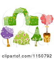 Cartoon Of Shrubery And Tree Garden Design Elements Royalty Free Vector Clipart