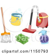 Cartoon Of Cleaning Items Royalty Free Vector Clipart by BNP Design Studio