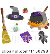 Cartoon Of Witch Items Royalty Free Vector Clipart