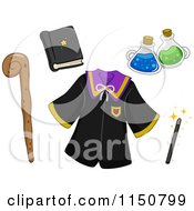 Cartoon Of Wizard Items Royalty Free Vector Clipart