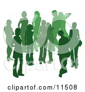 Green Group Of Silhouetted People Hanging Out In A Crowd Two Friends Embracing In The Middle Clipart Illustration