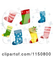 Cartoon Of Christmas Stockings And Snowflakes Royalty Free Vector Clipart by BNP Design Studio