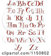Cartoon Of Formal Red Alphabet Letters Royalty Free Vector Clipart