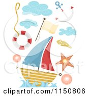 Cartoon Of Nautical Design Elements Royalty Free Vector Clipart by BNP Design Studio