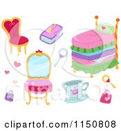 Cartoon Of Princess Furniture And Accessories Royalty Free Vector Clipart