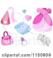 Cartoon Of Princess Acessories Royalty Free Vector Clipart